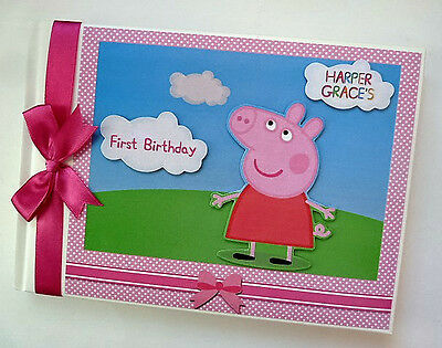 Personalised Peppa Pig Girl /first/1St Birthday Guest Book - Any Design