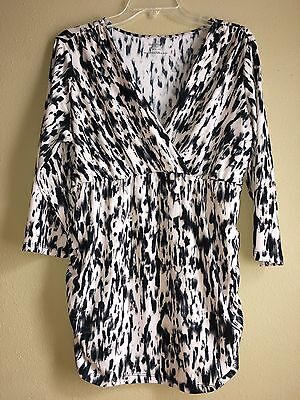 Motherhood Maternity XL V-neck 3/4 Sleeve Ruched  Side Blouse Top Stretchy
