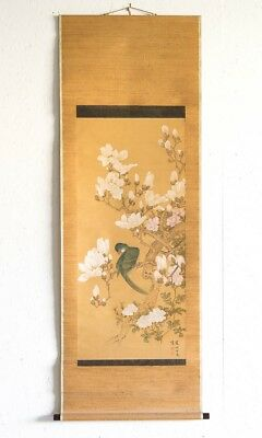 "Antique Traditional Chinese Silk Scroll Painting Parrot & Magnolias 73"" x 28"""