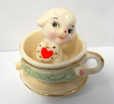 Vintage Napco/Napcoware Miniature Puppy with a Heart in a Teacup Figurine
