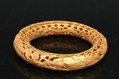 Chinese Exquisite Hand-carved Rohan carving Copper gilt Bracelets 2.32inch