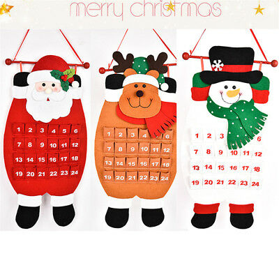 Large Christmas Advent Calendar w/ Pockets Santa/Reindeer/Snowman Xmas Decor EA