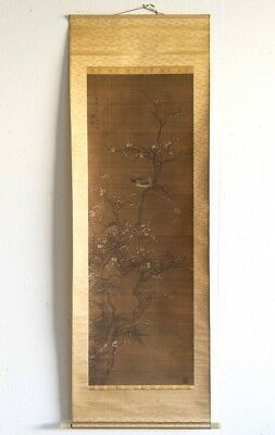"Antique Traditional Chinese Silk Scroll Painting Birds Cherry Tree 66.5"" x 22.5"""