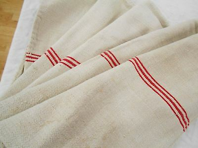 Vtg Antique RED STRIPE European HEMP LINEN Fabric FEED SACK GRAIN BAG 21X54