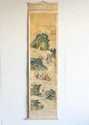 "Antique Traditional Chinese Silk Scroll of Landscape w Figures 89.5"" x 21.25"" W"