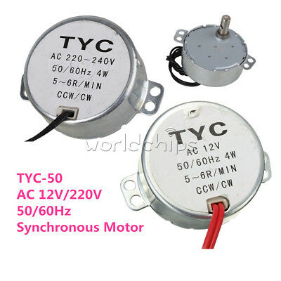 TYC-50 AC 12V/220V CW/CCW 4W 50/60Hz Synchronous Motor 5RPM/6RPM For Microwave