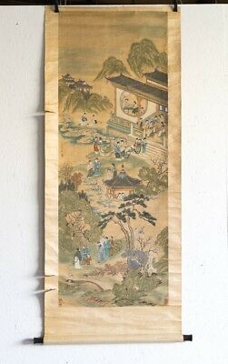 "Antique Traditional Chinese Silk Scroll of Garden & Figures 79"" Tall x 26-3/4"" W"