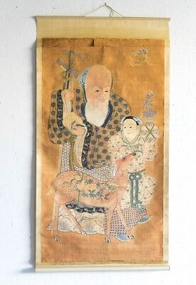 "Antique Traditional Chinese Silk Scroll Shou Lao & Child Longevity 71"" x 36-1/4"""