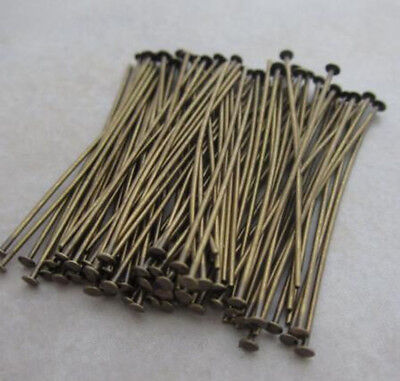 200pc Antique Brass Pins Rings Chandelier Lamp Crystals Bead Connector Hook 30mm