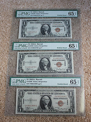 3 Consecutive Serial# 1935 A Hawaii $1 Notes Pmg65 Epq From Waikiki Hoard