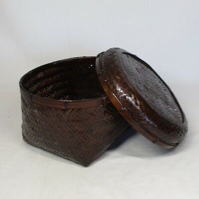B507: Japanese bamboo weaving basket with good style of work and taste