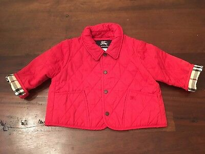 Baby Girl's BURBERY Red Quilted Jacket - Size 12 Months