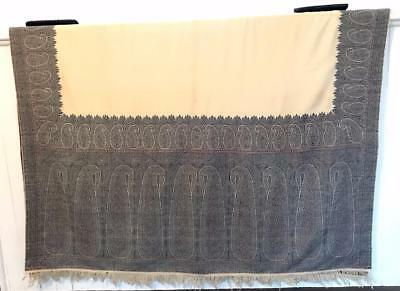 """Unique Cream and Blue Woven Wool Paisley Shawl Huge! 128"""" x 62.5"""""""