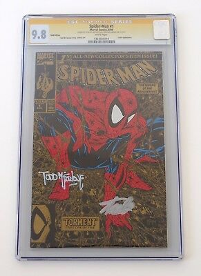 Spider-Man #1 - CGC 9.8 - Torment Gold Edition - SS Stan Lee & Todd Mcfarlane