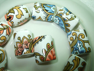 Porcelain Tube Beads Round & Oval Assorted Shapes & Colours Handpainted Lg Hole
