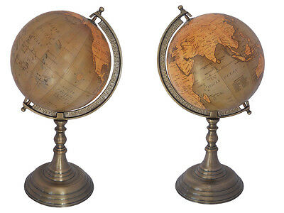 ANTIQUE WORLD MAP GLOBES TABLE DECOR OCEAN GEOGRAPHICAL EARTH DESKTOP GLOBE rep