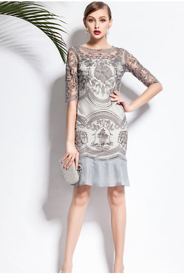 1920s Silver Grey Holiday Dress Gatsby Art Deco Cocktail Party Vintage NEW 6