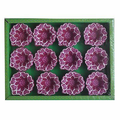 Traditional Multicoloured Single Watt Shaped Diwali Diya Violet & White Pack of
