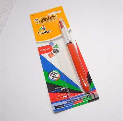 Bic 4-Color Grip Retractable Ballpoint Pen Medium Point RED BARREL!!!