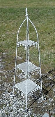 Three Tiered Twisted Steel Stand White Vintage