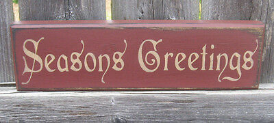 Primitive Country Seasons Greetings  Shelf Sign Christmas