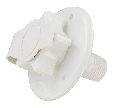 RV WHITE PLASTIC city water fill inlet flange w/check valve trailer 2-3/4""