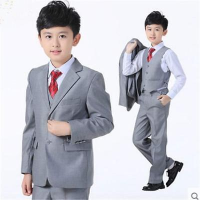 Boy Blazers Suits Flower Girl Wedding Suits Size 2T-10T Boy Gray Formal Suits Bo
