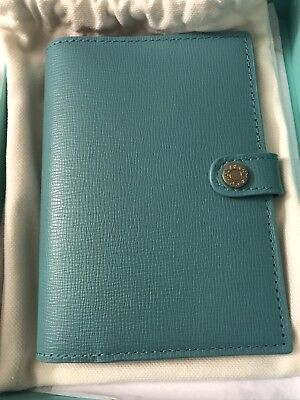 Brand New Authentic Tiffany & Co. Passport Cover Holder Leather Blue Silver