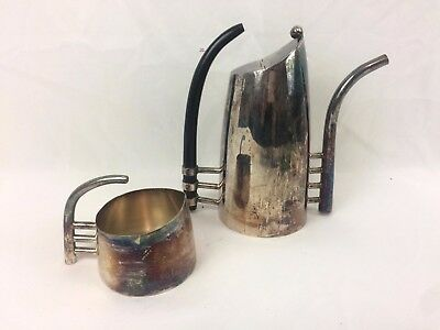 Art Deco Lino Sabattini Fenice silverplate tea set carafe coffee creamer