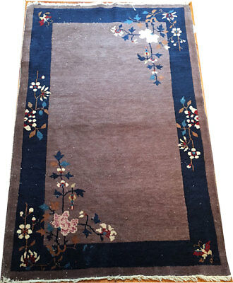 An Antique 3' x 5' Purple Ground Art Deco Chinese Rug