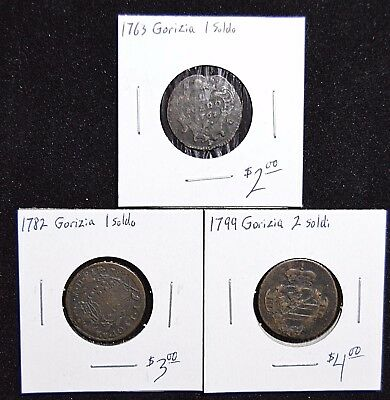 Collection of 3 Italian States Coins - 1 Soldo, 2 Soldi - mid to late 1700s