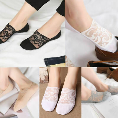 Ladies Skin Shoe Liners Footsies Invisible Thin Lace Socks Sheer Women Lin