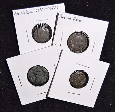 4 Ancient Bronze Coins - 2 Roman (Constantine) & 2 Unidentified/Uncleaned
