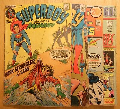 Superboy #159 and 171, Legion of Super-Heroes #2 and 202. Aquaboy origin issue.