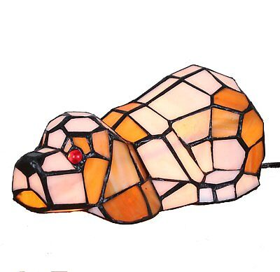 Bieye Lovely Puppy Tiffany Style Stained Glass Accent Table Lamp