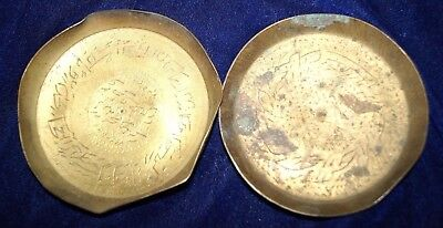 Old Antique Indian Brass Hand Engraved Islamic Urdu Scripted Serving Plate Rare