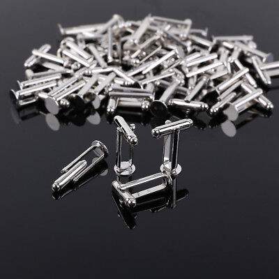 50 Cufflink Cuff Link Blanks Base findings Silver Plated Men Accessory