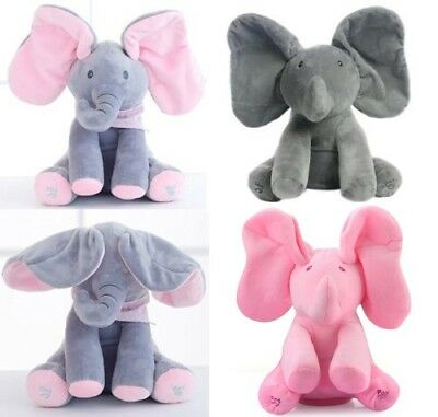 "12"" Peek A Boo Elephant Baby Flappy Plush Toy Singing Stuffed Animated Kids Doll"