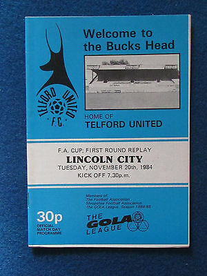 Telford United v Lincoln City - FA Cup 1st Round Replay Programme - 20/11/84