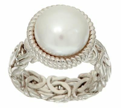 QVC Honora Cultured Pearl 12.0mm Button Byzantine Bronze Ring Sz 10