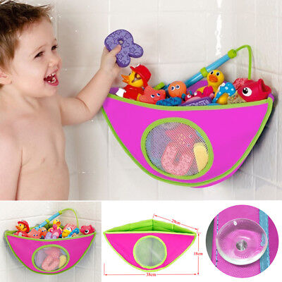 Kids Baby child Bath Toy Storage Bag Holder net Organizer Tidy + Suckers rose