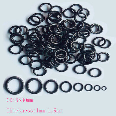 4-30mm Oil Resistant Seal Washers NBR Rubber 1mm 1.9mm O-Ring  Mechanical Black