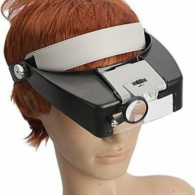 10X Magnifying Glass Headset LED Light Head Headband Magnifier Loupe With Box