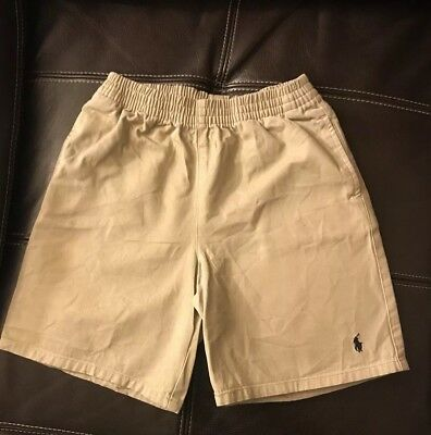 Boys Beige Ralph Lauren Polo Uniform Dress Shorts Size 7 100% cotton