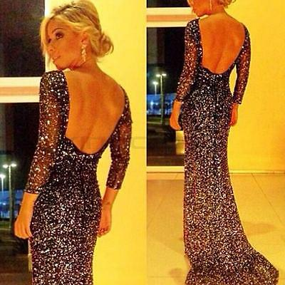 Womens Backless Long Formal Prom Cocktail Party Bodycon Ball Gown Evening Dress