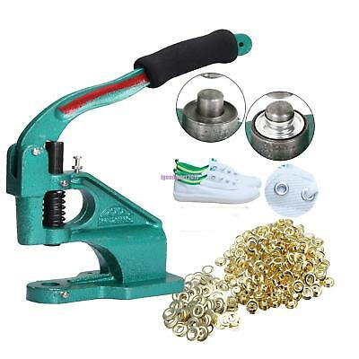 Grommet Eyelet Hole Punch Machine Hand Press Tool + 3 Dies + 900 Gold Grommets