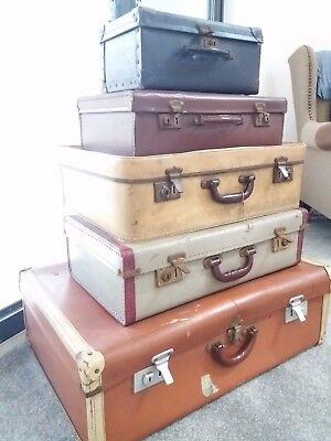 5 Vintage Retro Suite Cases Upcycle Stage Props