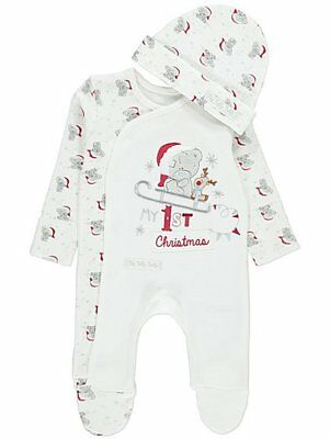 Baby boys Tatty Teddy My 1st Christmas Sleepsuit and Hat Set Outfit 0-6 months