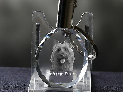 Australian Terrier, Dog Crystal Round Keyring, High Quality, Crystal Animals CA