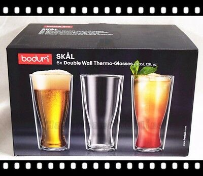 6x BODUM Skal Double Wall Clear Thermo Glasses 350ml / 12oz